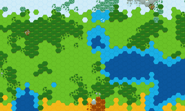 Generated hexagon map using Perlin Noise